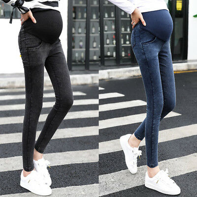 Maternity Women New Jeans Pants Bump Capris Trousers Lady Pregnancy Over Skinny