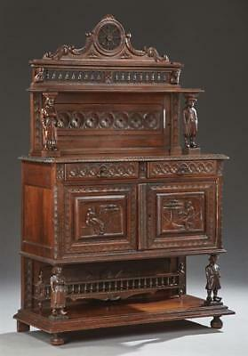 French Provincial Carved Oak Server, 19th c., Brittany, the arched sp... Lot 456
