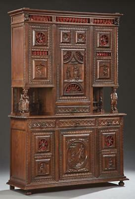 French Provincial Carved Oak Buffet a Deux Corps, 19th c., Brittany, ... Lot 455