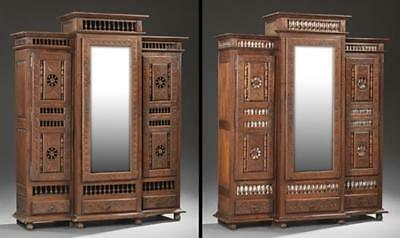 Rare Pair of French Provincial Carved Oak Armoires, c. 1880, Brittany... Lot 153