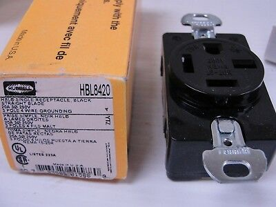 Hubbell HBL8420 Single Receptacle, black 20A 3 Phase 250V3 Pole 4 Wire GND.