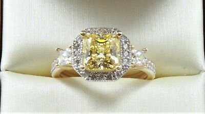 2.20 TCW FANCY YELLOW PRINCESS CUT ENGAGEMENT WEDDING RING SOLID 14K YELLOW GOLD