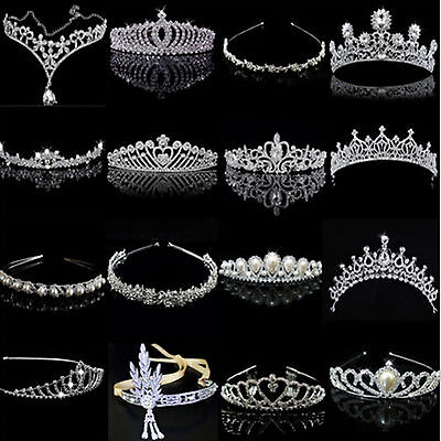 Bridal Wedding Crystal Flower Tiara Crown Pearl Rhinestone Hair Band Headband SU