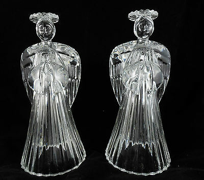 Avon Gift Collection Glowing Angel 24%Lead Crystal Candlestick Set of 2*NIB*RARE