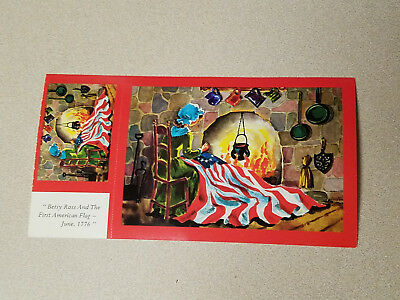 "Postcard Vintage /""Betsy Ross And The First American Flag/"" 1-5 Made In U.S.A"
