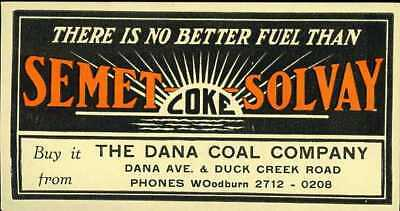 SEMET SOLVAY COKE Dana Coal Co Cincinnati Ohio Advertising Blotter