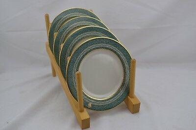 Theodore Haviland New York Mosaic Green Thick Gold  Set 4 Bread Butter Plates #2