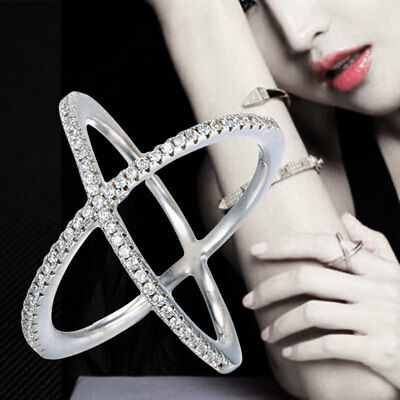 Womens Solid 925 Sterling silver CZ Criss Cross X Ring Comfortable