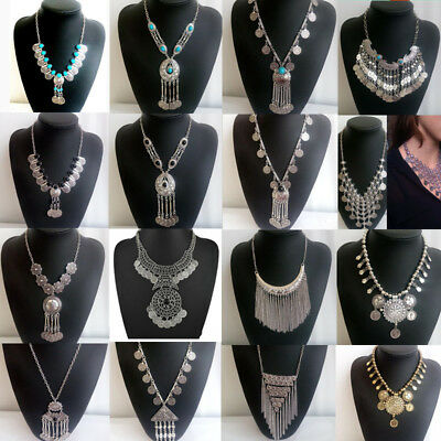 Women Vintage Bohemian Ethnic Gypsy Tribal Antique Silver Coin Tassel Necklace