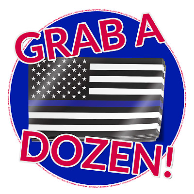 Thin Blue Line American Flag Decals | 12 Stickers US USA America Police Support