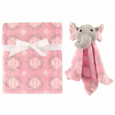 Hudson Baby Plush Super Soft Security Blanket Girly Elephant 30X40 Inches New