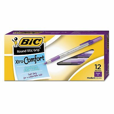BIC Round Stic Grip Xtra Comfort Ballpoint Pen, 1.2mm, Medium, Purple Ink, 12ct.