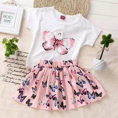 AU Butterfly Baby Girls Dress Toddler Kids T-shirt + Skirts Outfits Clothes 2PCS