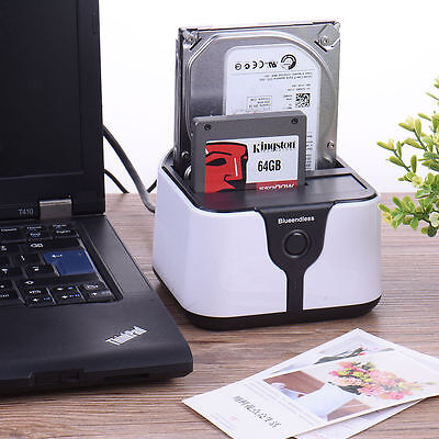 "USB 3.0 2.5"" 3.5"" Dual SATA HDD Drive Dock Station Enclosure Case External Disk"