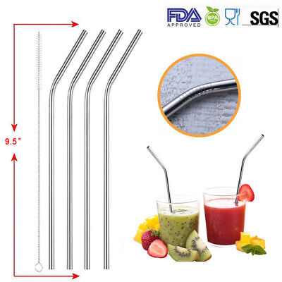 5x Metal Drinking Straws Stainless Steel Drinks Straw Cleaner Party Reusable Bar