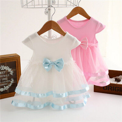 Baby Girls Infant Short Sleeve Tutu Dress Clothes Party Jumpsuit Princess Dress