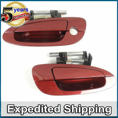 Front Pair Set 2 Outside Door Handle For 02-06 Nissan Altima Red Mica AX3 DS226