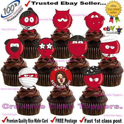Red Nose Day Charity standup Cup Cake Toppers Edible Rice wafer Card decorations