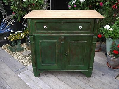 Fabulous! Old Antique Pine Painted Dresser Base/sideboard/cupboard Shabby Chic
