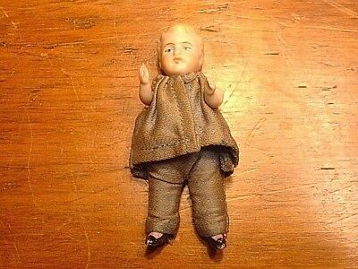 "Antique 3 3/4"" German / French Miniature Hand Painted Bisque Doll with Clothing"