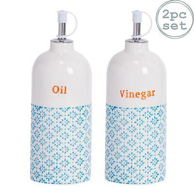 2x Porcelain Vinegar / Olive Oil Dispenser Bottle - Blue / Orange Print Pourer