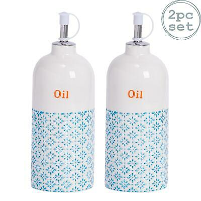 2x Porcelain Olive Oil Dispenser Dressing Bottle in Blue / Orange Print Pourer