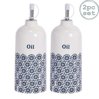 2x Porcelain Olive Oil Dispenser Dressing Bottle in Blue Flower Print Pourer