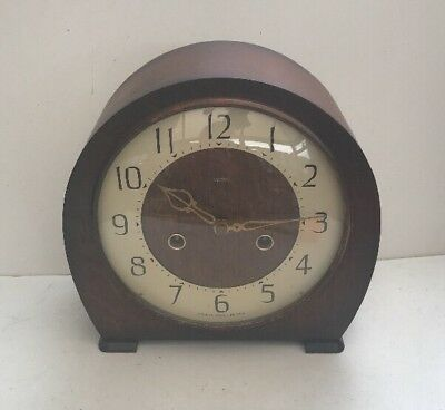 Vintage Smiths England Wooden Chiming Clock Requires TLC