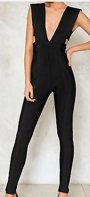 Love&Other Things Put Me Out Plunging Jumpsuit Black Size 4 (US) NWT