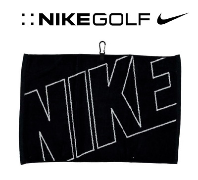 "New NIKE Tour  Graphic Jacquard Golf Towel Black 100% cotton velour 16"" x 24"""