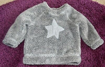 Next 9-12 Months Unisex Baby Fluffy Comfy Warm Winter Snuggle Top With Star
