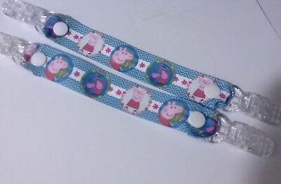 pr mitten glove clips girl boy kids pig pattern peppa blue Childrens mitten clip