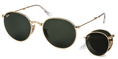 Ray Ban Round Folding RB3532 001 Gold / G-15 Green 47mm Sunglasses