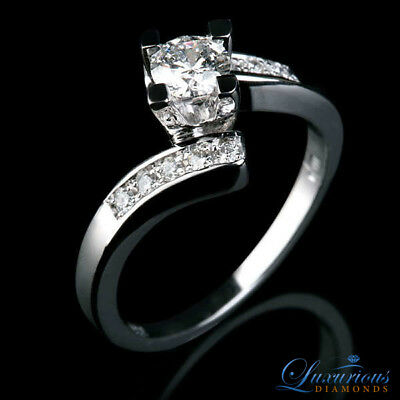 Round Cut Anniversary Diamond Ring 1.1 CT D VS Solitaire With Accents