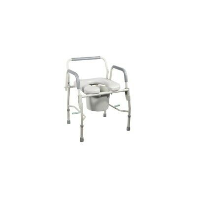 Commode with drop arms, deluxe steel, padded seat, 2 each 43-2342-2