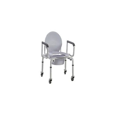Commode with drop arms, wheels, aluminum, 2 each 43-2350-2