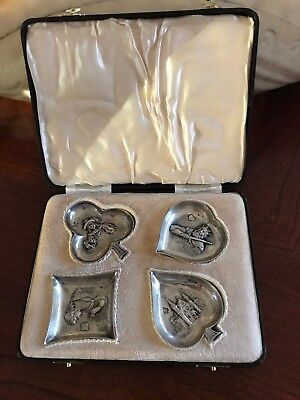 Antique Sterling Silver Card Suit Set of Four Ash Trays in a Box - Collectibles