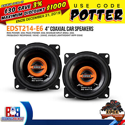 "Edge Street EDST214-E6 4"" 80w Car Audio 2 Way Coaxial Coax Speaker System"