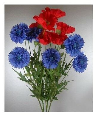 Bunch of Conflowers and Poppies 70 cm Artificial Realistic Flowers Fake Flowers