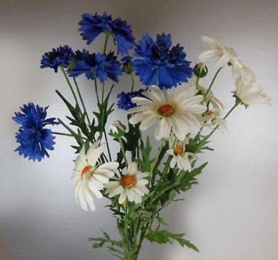 Bunch of Daisies and Cornflowers 65 cm Artificial Realistic Flowers Fake Flowers