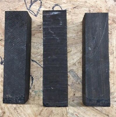 "3 Pcs. Lot,  Ebony Pool Cue Blank Turning Wood Knife Scales 1.5""X 6""  Free Ship!"