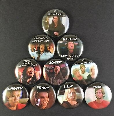 """THE ROOM 1"""" PIN BUTTON lot Tommy Wiseau Drama Comedy"""