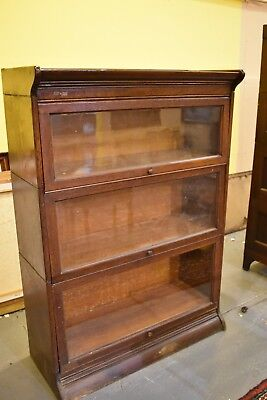 Grand Rapids Antique Oak 3 Stack Barrister Lawyers Bookcase Display Cabinet