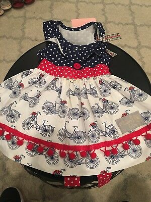 1c1c45a61e21 Eleanor Rose Dress Baby Girl Size 6 Month Bicycle Red Flowers Blue Check  Spring