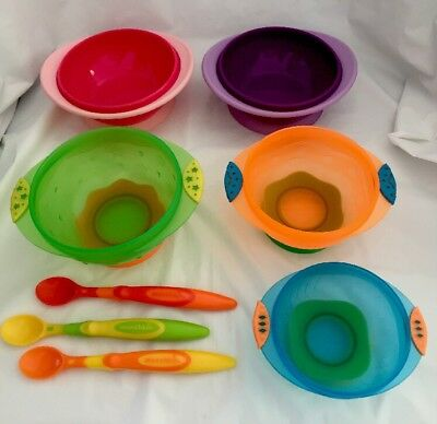 Suction Cup Bowls Munchkin Stay Put Bowl 5 Count Baby Toddlers With 3 Spoons