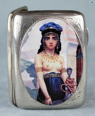 Antique 1911 British Erotic T. HEATLEY Egyptian Girl Silver Gilt Cigarette Case