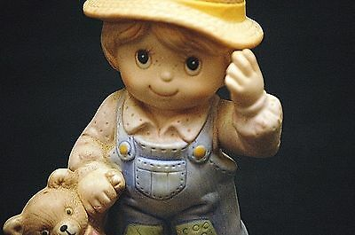 Old Vintage Homco Farmer Boy w Teddy Bear Bisque Figurine 1403 Curio Cabinet Dcr