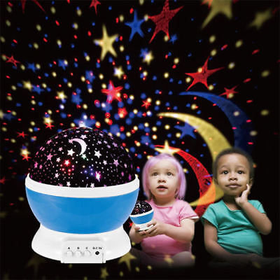 Night Lighting Lamp Kids Rotating Cosmos Star Sky Projector for Children Baby