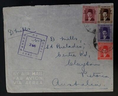 SCARCE c.1945 Egypt Censor Airmail Cover ties 4 King Farouk stamps Army P.O. cd
