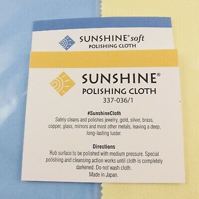 2 Sunshine Polishing Cloths; Yellow & Blue Jewelry Cleaner Silver Gold Copper
